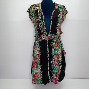 Nanette Lepore 2 Silk Dress Floral Wrap Pockets